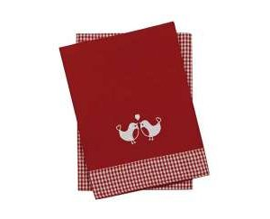 Set of 2 tickingtape robin tea towels