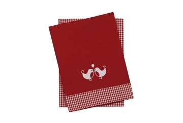 Set of 2 tickingtape robin tea towels