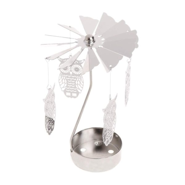 Owl tea light spinner