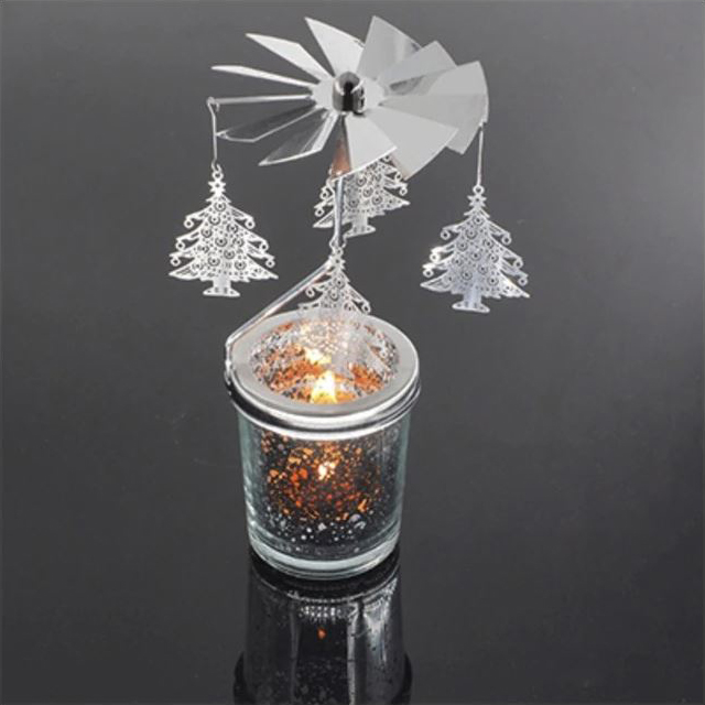 Mercury Glass Tea Light Spinners - Christmas Tree