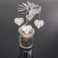 Mercury Glass Tea Light Spinners - Love Heart