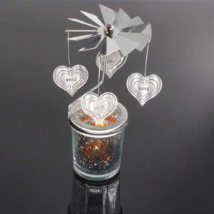 Mercury Glass Tea Light Spinners - Love Heart