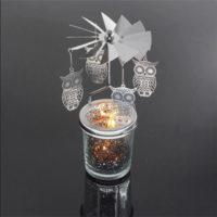 Mercury Glass Tea Light Spinners - Owl