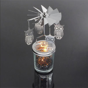 Mercury Glass Tea Light Spinners - Owl