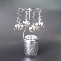 Mercury Glass Tea Light Spinners - Stags