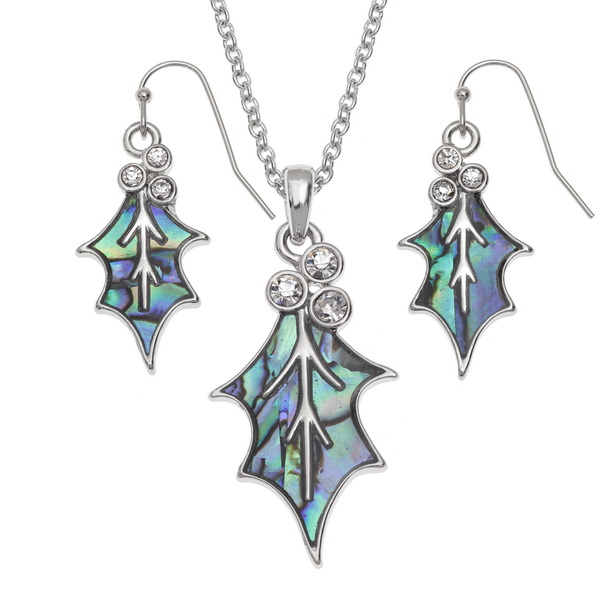 Holly leaf crystal berry set