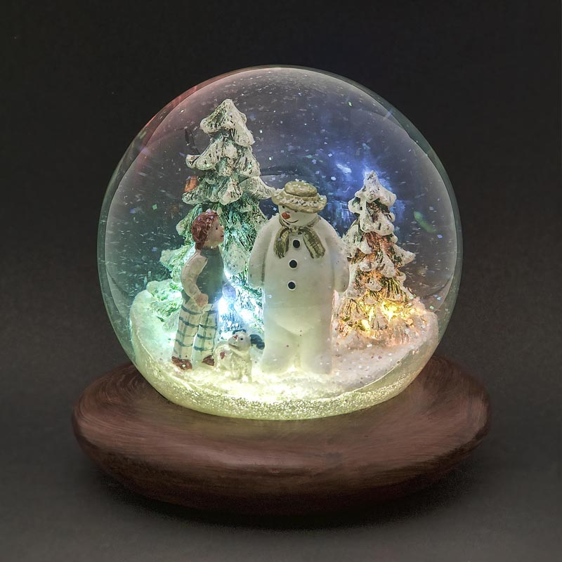 Snowman and Dog Waterball 15cm