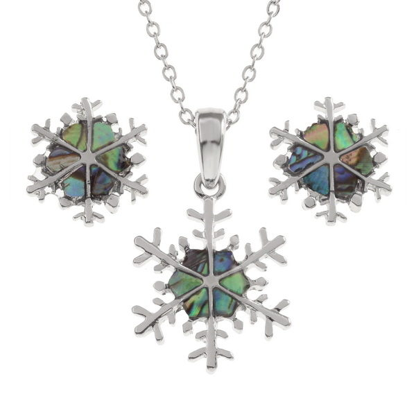 Snowflake necklace and earring