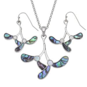 Tide jewellery mistletoe necklace and earring set