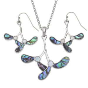 Tide jewellery mistletoe necklace and earrings