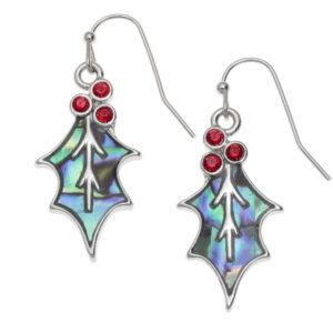 holly leaf red berries earrings