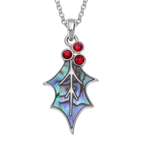 holly leaf necklace red berry