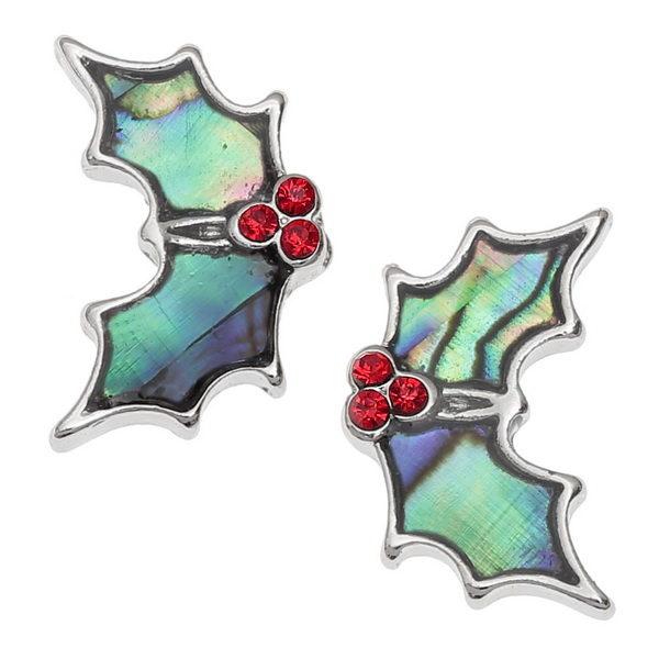 holly leaf stud earrings