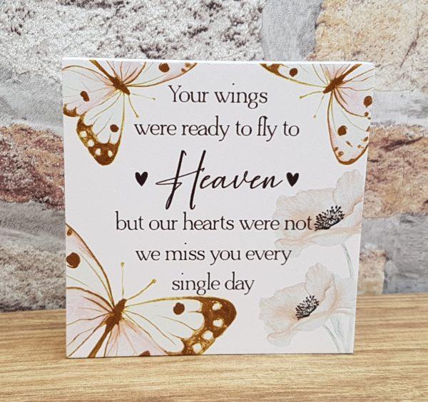your wings memorial plaque