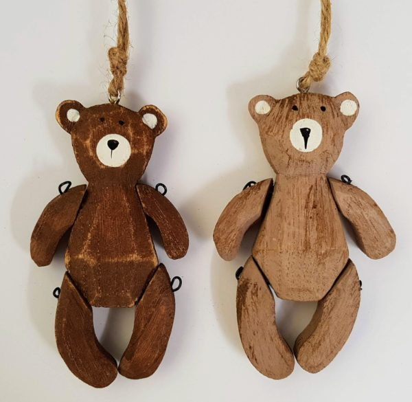 wooden jointed teddy decoration