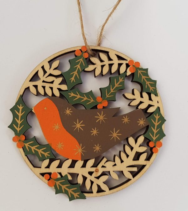 cut out wooden robin decoration