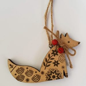 New England Wooden Fox Decoration