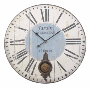 Large wood look blue clock