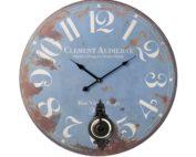 Large distressed blue clock