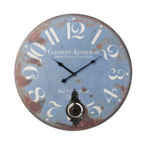Large distressed blue clock