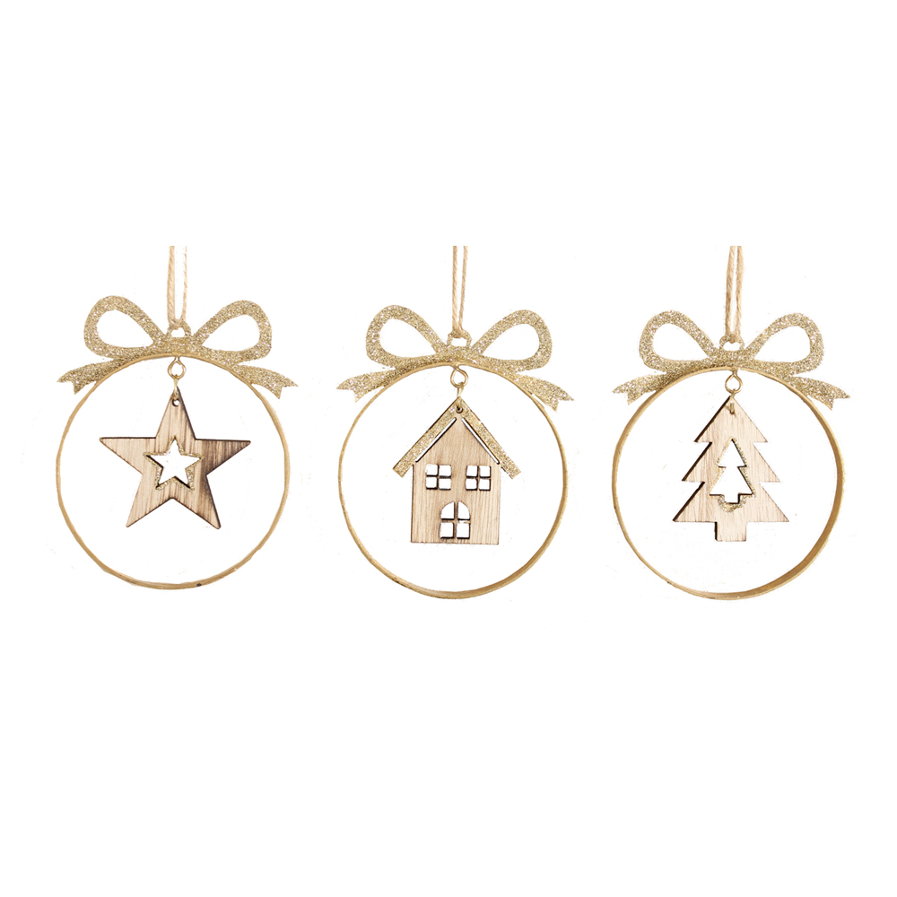 Gold Sparkle Bauble Tree Hanger - Assorted