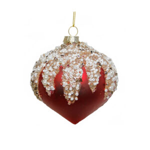 Ruby Jewelled Bauble - 8cm