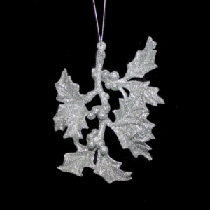 Silver Sparkle Holly Leaf Hanger