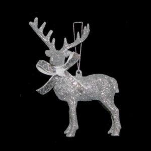 Silver Sparkle Reindeer Hanger