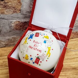 babys 1st christmas bauble hand painted